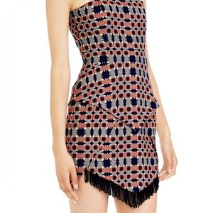Sass and bide print dress with fringe
